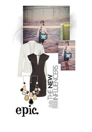White Shrugs, Black Dresses with Multi Necklaces. Online shopping look by Juhi
