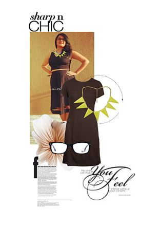 Brown Dresses, Black Sunglasses, Green Necklaces with Green Necklaces. Online shopping look by Juhi