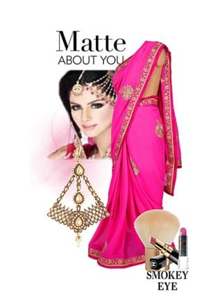 Pink Sarees, Gold Others with Pink Lipstick. Online shopping look by geetu