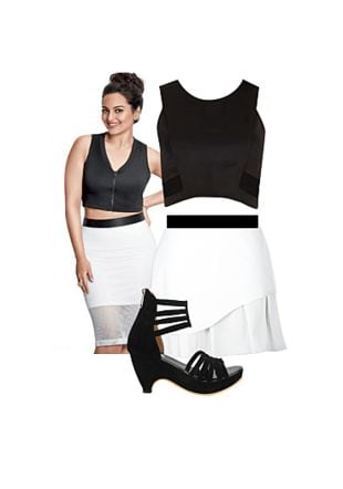 Black Tops, White Skirts with Black Heels. Online shopping look by Gargi