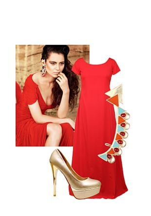 Multi Earrings, Multi Earrings, Red Dresses with Gold Pumps. Online shopping look by Gargi