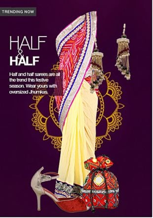 Multi Sarees, Gold Earrings, Red Potlis with Red Pumps. Online shopping look by shilpi