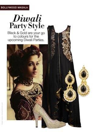 Black Suits, Gold Earrings with Gold Sandals. Online shopping look by Rina Walia S