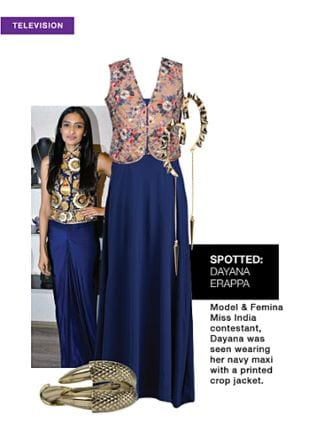 Blue Dresses, Multi Jackets, Gold Earrings with Gold Bracelets. Online shopping look by jiya