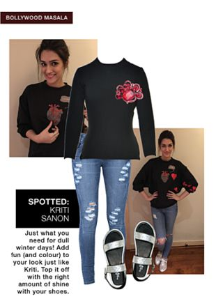 Blue Jeans, Black Pullovers with Silver Sandals. Online shopping look by Tani