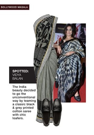 Grey Sarees with Black Loafers. Online shopping look by sheena