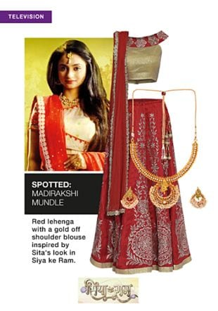 Red Lehengas with Gold Pendants. Online shopping look by sheena