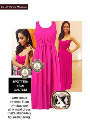 Pink Dresses, Silver Earrings with White Rings. Online shopping look by smriti