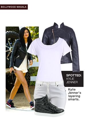 Black Jackets, Black Sneakers, White Shorts with White Tops. Online shopping look by gurkiran