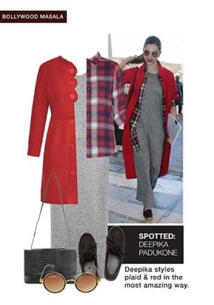 Grey Dresses, Red Coats, Black Mocassins, Black Sling Bags, Brown Sunglasses with Red Shirts. Online shopping look by smriti