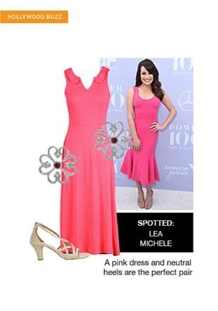 Pink Dresses, Beige Sandals with Silver Earrings. Online shopping look by sheena