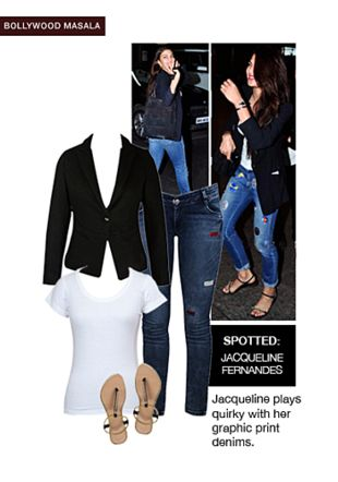 Blue Jeans, Black Jackets, White Tees with Black Sandals. Online shopping look by shilpi