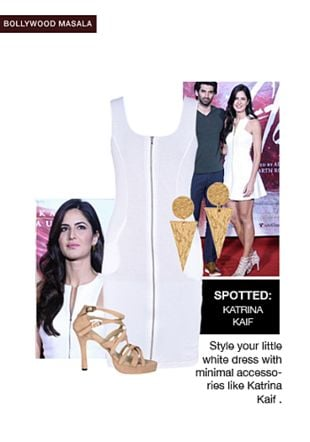 White Dresses, Gold Earrings with Nude Sandals. Online shopping look by Tanya