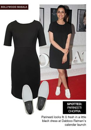Black Dresses with White Loafers. Online shopping look by sheena