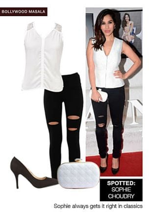 Black Pumps, White Clutches, White Tops with Black Jeggings. Online shopping look by sheena