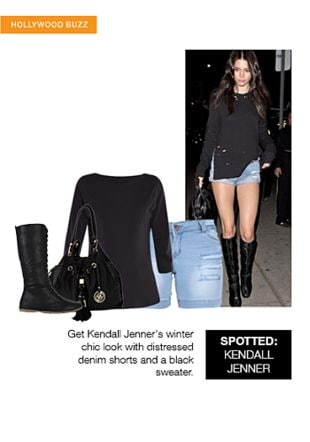 Black Boots, Black Tees, Blue Shorts with Black Handbags. Online shopping look by shilpi