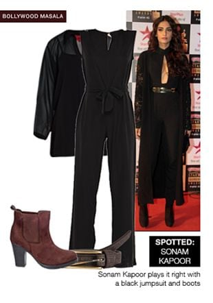Brown Boots, Black Shirts, Brown Belts with Black Jumpsuits. Online shopping look by shilpi