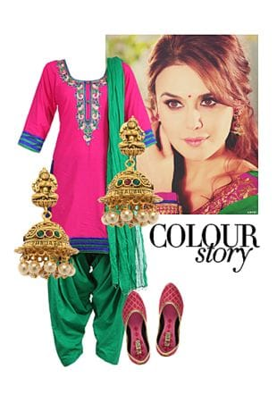 Pink Suits, Gold Earrings with Pink Jutis & Mojaris. Online shopping look by Swati
