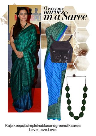 Blue Sarees, Black Blouses with Green Necklaces. Online shopping look by Ojasvi