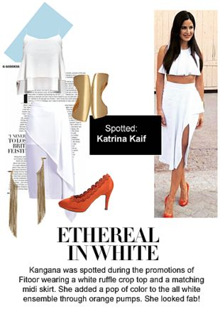 White Tops, White Skirts, Orange Pumps, Gold Bracelets with Gold Earrings. Online shopping look by Ojasvi