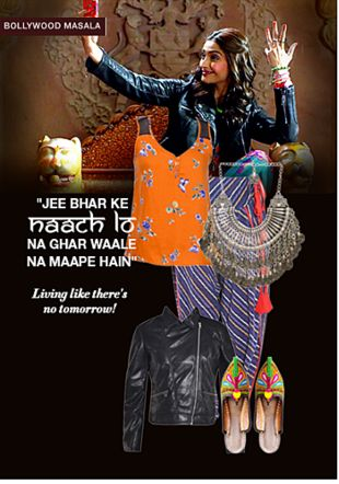 Blue Salwars, Orange Tops, Black Jutis & Mojaris, Black Jackets with Silver Necklaces. Online shopping look by Rina Walia S