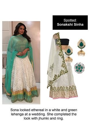 Multi Lehengas, Green Rings with Green Earrings. Online shopping look by Ojasvi