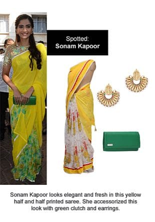 Yellow Sarees, Green Clutches with Gold Earrings. Online shopping look by Ojasvi