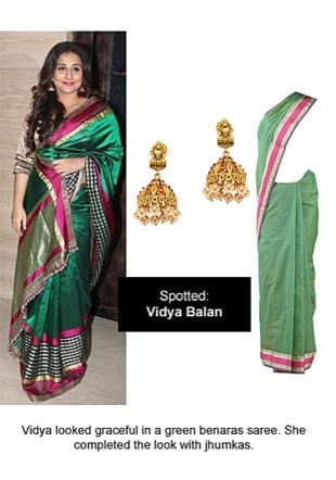 Green Sarees with Gold Earrings. Online shopping look by Ojasvi