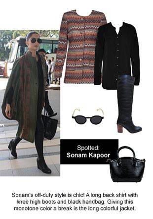 Black Shirts, Black Boots, Black Sunglasses, Black Handbags with Brown Jackets. Online shopping look by Ojasvi