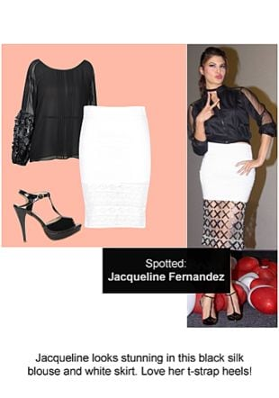 Black Tops, White Skirts with Black Sandals. Online shopping look by Ojasvi