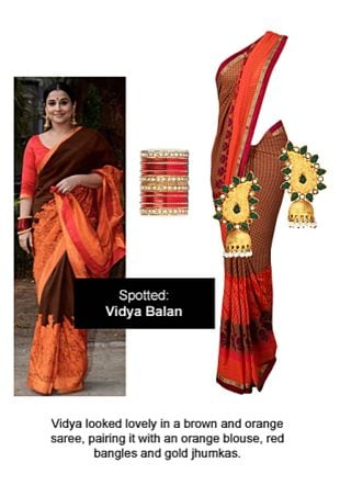 Brown Sarees, Red Bangles with Gold Earrings. Online shopping look by Ojasvi