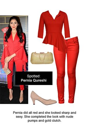 Red Tops, Red Trousers, Beige Pumps with Gold Clutches. Online shopping look by Ojasvi