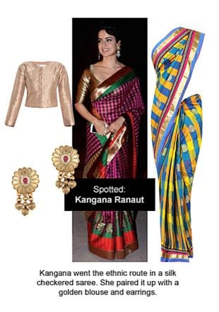 Yellow Sarees, Gold Blouses with Gold Earrings. Online shopping look by Ojasvi