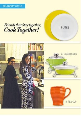 Yellow Plates, White Plates, Green Casseroles, Green Casseroles with Orange Mugs. Online shopping look by LimeRoad