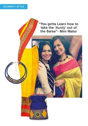 Yellow Sarees, Blue Potlis with Blue Necklaces. Online shopping look by LimeRoad