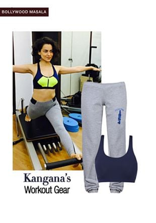 Blue Bra with Grey Track Pants. Online shopping look by monica