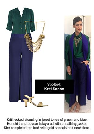 Green Shirts, Blue Palazzos, Gold Sandals with Gold Necklaces. Online shopping look by Ojasvi