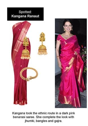 Pink Sarees, Gold Bangles with Gold Earrings. Online shopping look by Ojasvi