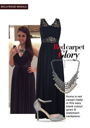 Silver Necklaces, Black Dresses with Silver Pumps. Online shopping look by Rina Walia S