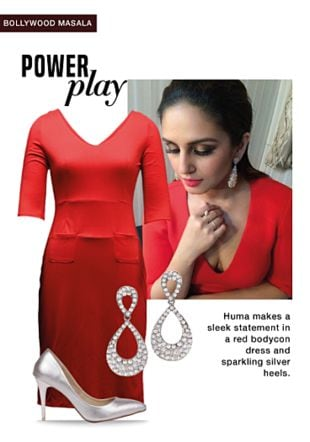 Red Dresses, Silver Pumps with Silver Earrings. Online shopping look by Rina Walia S