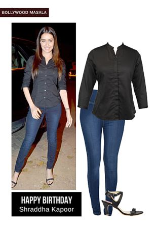 Blue Jeans, Black Shirts with Black Sandals. Online shopping look by LimeRoad