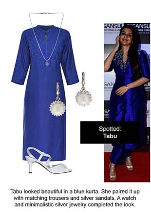 Blue Kurtas, Silver Sandals, Silver Earrings with Silver Pendants. Online shopping look by Ojasvi