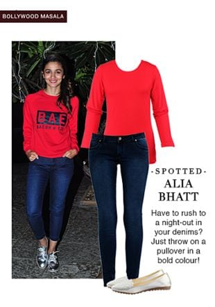 Red Tees, Silver Loafers with Blue Jeans. Online shopping look by monica