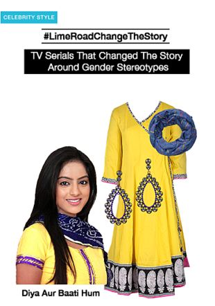 Yellow Kurtas, Gold Earrings with Blue Dupattas. Online shopping look by smriti
