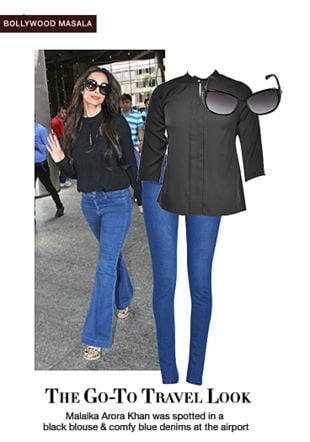 Blue Jeans, Blue Jeans, Blue Jeans, Black Tops with Black Sunglasses. Online shopping look by sheena