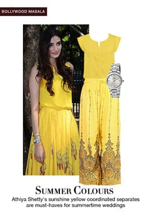 Yellow Palazzos, Yellow Tops with Silver Watches. Online shopping look by shilpi