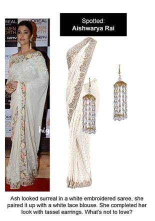 White Sarees with White Earrings. Online shopping look by Ojasvi