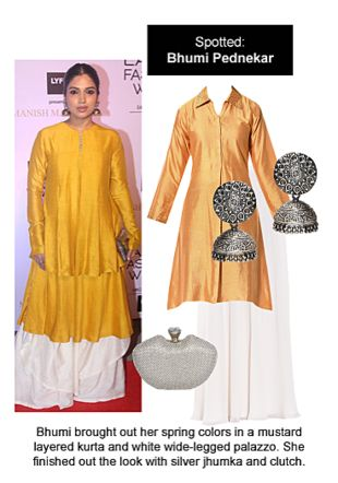 Yellow Kurtas, White Palazzos, Silver Clutches with Silver Earrings. Online shopping look by Ojasvi