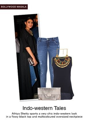 Blue Jeans, Black Tops, Multi Necklaces with Silver Clutches. Online shopping look by monica