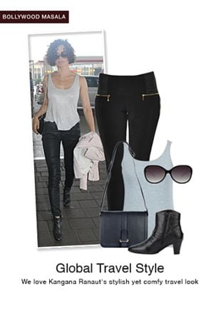 Black Boots, Black Sunglasses, Black Sling Bags, Grey Tees with Black Jeggings. Online shopping look by monica